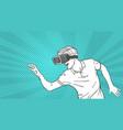 man sketch wear goggles 3d glasses virtual reality