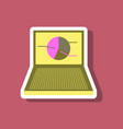 paper sticker on stylish background laptop chart vector image vector image