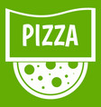 Pizza badge or signboard icon green
