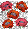 poppies flowers hand drawn seamless pattern vector image