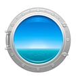 Porthole icon with sea and sky summer landscape vector image vector image
