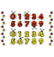 red and yellow ladybug numeral figure number vector image vector image