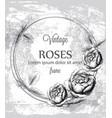 roses vintage card line art vintage ink vector image vector image
