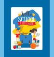 school schoolchild charcater boy girl with vector image vector image