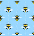 seamless pattern with bees and wavy lines vector image vector image