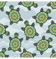 Seamless pattern with green turtles in the sea vector image