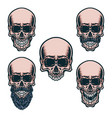 set different skull characters vector image vector image