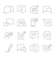set of message related line icons sms vector image