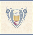 shield beer mug with hop branches vector image vector image