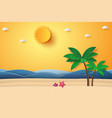summer time sea with beach and coconut tree vector image