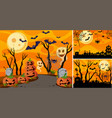 three background with halloween night and vector image