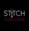 triple stitch style font vector image vector image