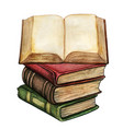 watercolor ancient stack of books with open book vector image