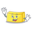 waving butter character cartoon style vector image vector image