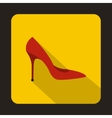 Red high heel shoe icon flat style vector image
