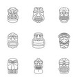 african culture icons set outline style vector image vector image
