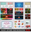 big collection voucher gift card layout vector image