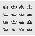 Black crown icons set vector image vector image