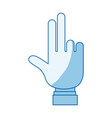 blue color shading silhouette hand showing two vector image vector image