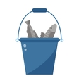 Bucket with fish vector image vector image