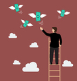 Businessman on the ladder catching a money fly vector image vector image