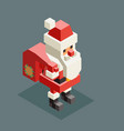 carry giftbag santa claus isometric grandfather vector image