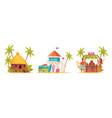 cartoon hawaii icon set vector image vector image