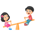 Cartoon Kids see saw vector image