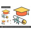 Certificate degree line icon vector image vector image
