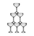 champagne glass pyramid tower engraving vector image