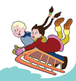 children with sledge vector image