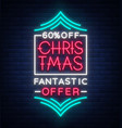 christmas sale poster advertising banner in neon vector image vector image