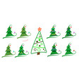 christmas tree decorated modern flat design vector image