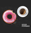 coffee cup and donut realistic product vector image vector image