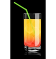 color cocktail in a glass vector image vector image