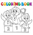 coloring book penguin winners theme 1 vector image vector image