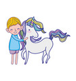 cute boy with beauty unicorn animal vector image vector image