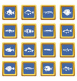 cute fish icons set blue vector image vector image