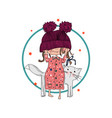 cute girl with cat vector image