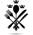 Cutlery with crowns vector image vector image