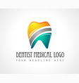 dentist medical clinic logo design for brand vector image