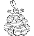 easter bunny and eggs coloring page vector image vector image
