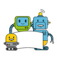 electronic robots with banner characters vector image
