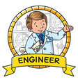 engineer coloring book abc of profession emblem vector image vector image