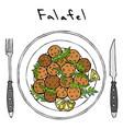 falafel arugula herb leaves lemon on plate fork vector image