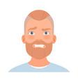 fear on face a man with a beard vector image vector image