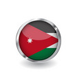 flag of jordan button with metal frame and shadow vector image vector image
