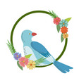 flowers leaves and love bird frame round natural vector image