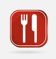 fork and knife Color square icon vector image