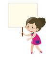 girl in purple dress holding sign vector image vector image